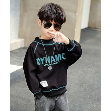 ocsco 男童加絨衛衣冬季新款童裝加厚上衣中大童打底衫坎條字母套頭衫