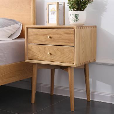 HJMM北歐床頭柜臥室白橡木儲物柜簡約現代 臥室兩抽原木色斗柜