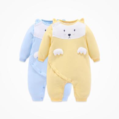 丑丑婴幼 男宝宝加棉可爱棉哈衣男童新款斜开保暖连体棉衣