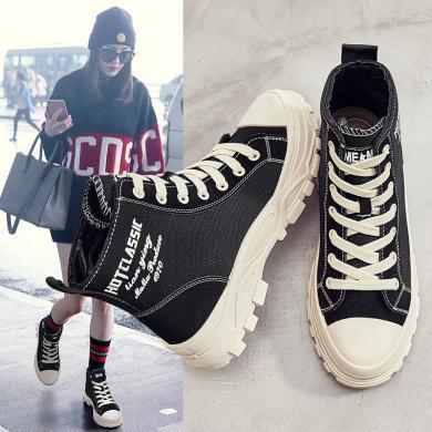 美駱世家帆布馬丁靴女士短靴秋冬單款靴子冬款英倫風網紅女鞋百搭2019新款YC-M901