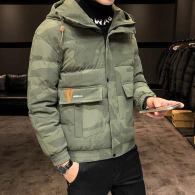 庫依娜冬季外套男士2019新款韓版潮流羽絨棉服短款迷彩棉襖加厚冬裝棉衣MD9808