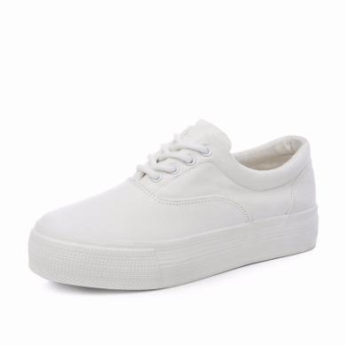 人本内增高小白鞋女2019秋款布鞋学生韩版厚底板鞋百搭白色帆布鞋3620
