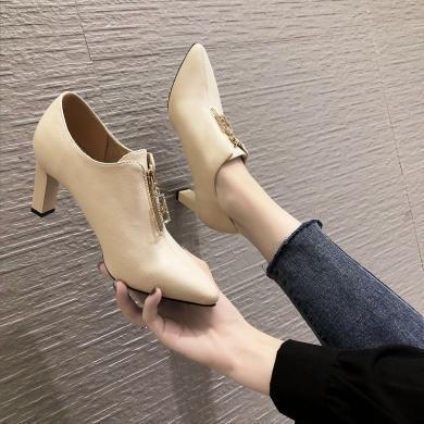 2019秋冬新款女鞋韓版前拉鏈深口單鞋粗跟尖頭女高跟鞋XLJ-9443