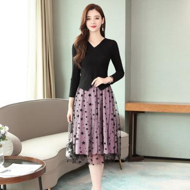 亿族 网纱连衣裙秋季新款韩版时尚穿搭假两件裙子收腰显瘦中长裙女