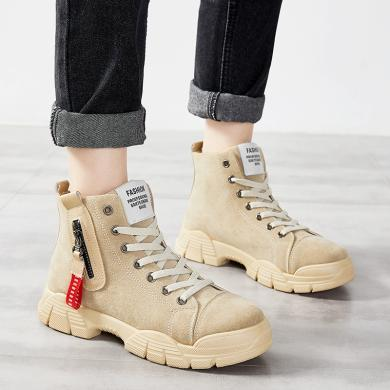 ins網紅潮鞋時尚秋冬新款女鞋韓版高幫鞋馬丁靴工裝靴潮鞋棉鞋靴子YG-6221