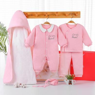 班杰威尔5件套秋冬加厚纯棉婴儿衣服新生儿礼盒套装?#31896;?#29983;宝宝用品