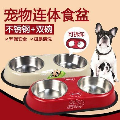 企菲 寵物不銹鋼雙碗 不銹鋼寵物碗防滑狗碗狗盆 烤漆彩色優質寵物雙碗 cwry32