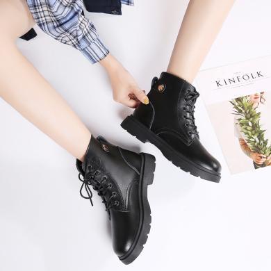 新款秋冬馬丁靴時尚粗跟中跟女短靴高幫女鞋MN568