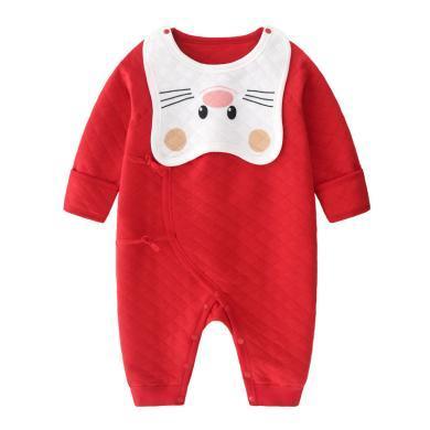 班杰威爾春秋季純棉新生嬰兒寶寶連體衣服保暖夾棉爬服哈衣