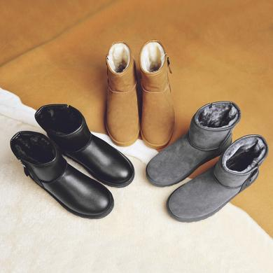 美駱世家雪地靴男2019冬季情侶款雪地靴女棉鞋高幫戶外加絨保暖靴YG-5857