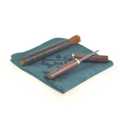 普洱茶工具套装(酸枝木柄不锈钢做大马士革花纹茶刀、养壶笔、茶巾)C-88-4-4