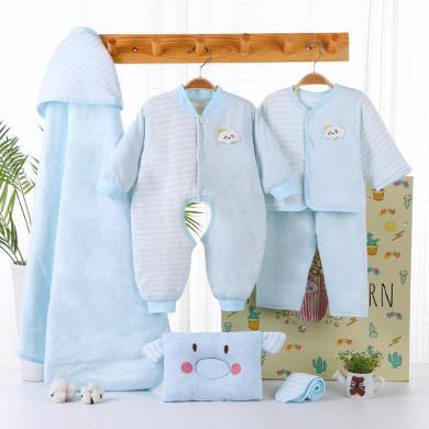 班杰威爾6件套秋冬季加厚新生兒禮盒剛出生初生男女嬰兒衣服套裝滿月禮物寶寶用品