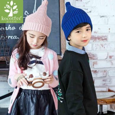2019新款KK樹韓版兒童奶嘴帽秋冬男女童針織毛線帽寶寶帽子時尚潮