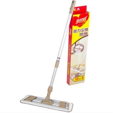 美麗雅平板拖把魔力塵推粘扣式家用大號地拖木地板瓷磚拖布干濕兩用墩布贈替換布2張 共2張拖布
