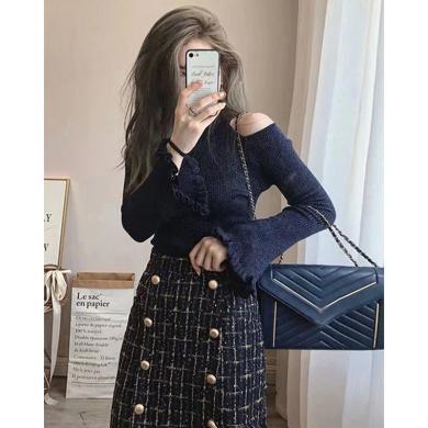 CAVS法式復古小香風露肩毛衣連衣裙子兩件套裝女秋冬季配大衣的長裙子HD8250