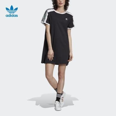 adidas阿迪達斯三葉草 DRESS 女裝圓領套頭短袖T恤連衣裙ED4776