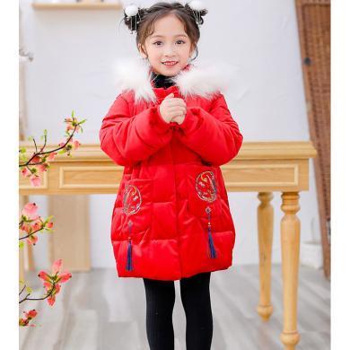 ocsco 童裝棉服冬季新款中國風女童棉衣中大童棉襖喜慶漢服拜年服