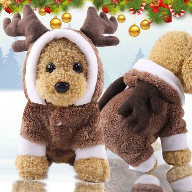小中大狗狗衣服圣誕節衣服寵物衣服貓咪衣服搞怪秋冬裝   四腿法蘭絨加厚棕色麋鹿