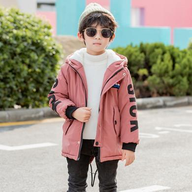 ocsco 童裝棉服冬季新款男童棉衣加絨加厚棉襖中大童印花上衣連帽外套