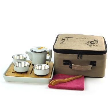 AlfunBel艾芳貝兒-功夫茶具 銀內膽鎏銀杯辦公室泡茶器隨手茶具套裝一壺三杯一茶盤時尚之選 旅行套裝 便攜旅游茶道-竹風壺三杯套裝C-AG-43-1