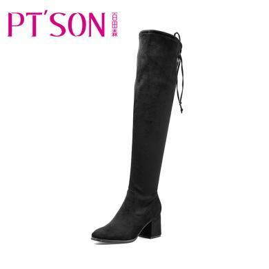 百田森 新款长筒靴方头高跟舒适时装冬靴PYQ17865