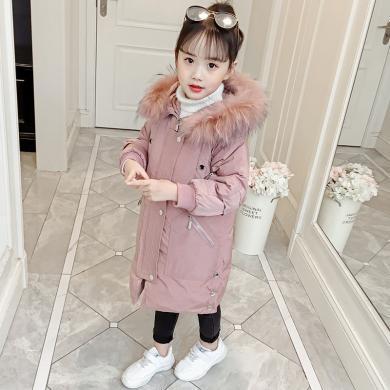 美純衣天使2019新款冬裝加厚加長款棉服女孩韓版洋氣毛領連帽棉襖MC復雜棉衣