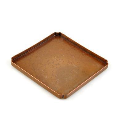 AlfunBel艾芳贝儿茶具 日式紫铜打制紫砂壶壶承 干泡盘茶盘茶道茶杯托盘 敬茶盘-方形折角C-94-10-5-3(长14.5CM宽14.5CM)