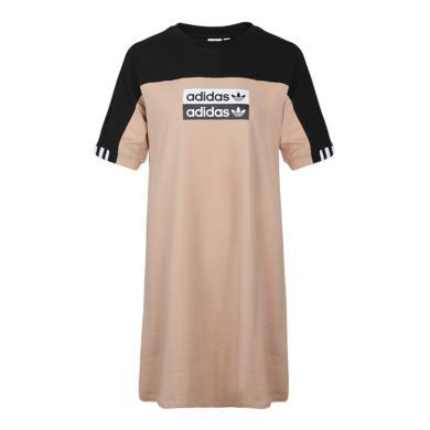 Adidas阿迪達斯三葉草夏季女裝運動短袖T恤連衣裙EC0774