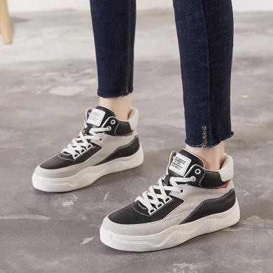 高帮鞋女运动棉鞋女冬加绒女鞋2019冬季新款棉鞋女增高小白鞋平底板鞋女X1119