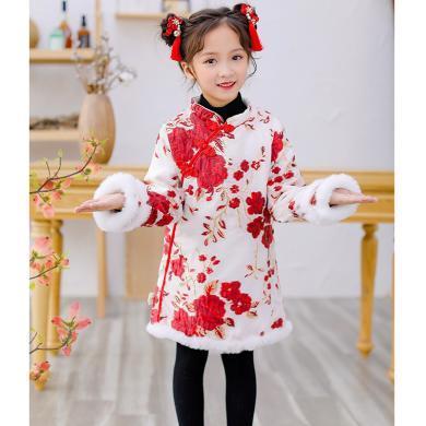 ocsco 兒童旗袍女童唐裝冬季新款漢服連衣裙中國風童裝拜年服喜慶過新年衣服