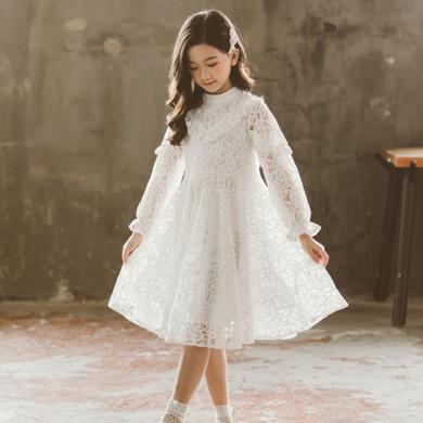 谜子 女童镂空蕾丝裙秋季新款童装连衣裙中大童中长裙儿童白裙子