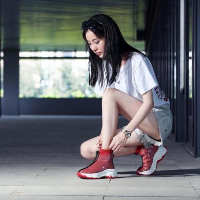 古奇天倫休閑彈力襪子鞋網紅女鞋秋東季新款潮鞋韓版百搭高幫運動鞋短靴9644