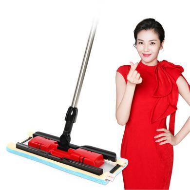 美丽雅经典亲亲平板拖把 夹布拖把木地板拖把家用大拖头360度无死角旋转平板拖 红色
