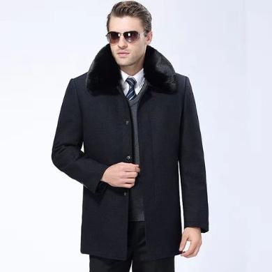 芃拉秋冬新款中年男士毛呢大衣中長款外套中老年爸爸裝加厚呢子大衣男KYZ066