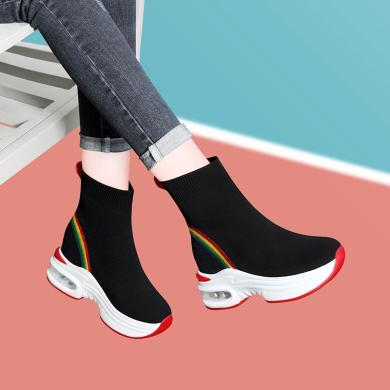 古奇天伦针织弹力袜子靴女加绒女式袜子女鞋冬季新款休闲高帮厚底鞋子9702-1