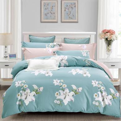 帝豪家紡 全棉噴氣四件套純棉床上1.5m床笠式1.8米套件床上用品