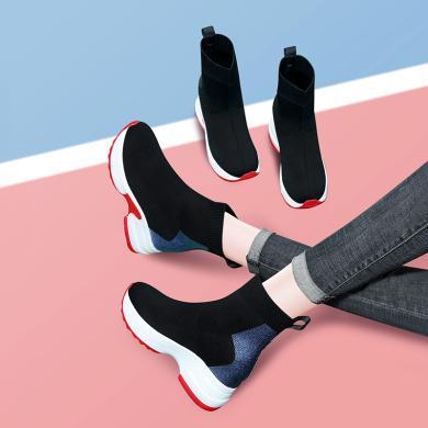 古奇天伦圆头厚底高帮鞋秋东新款内增高女鞋高跟弹力布单鞋9642