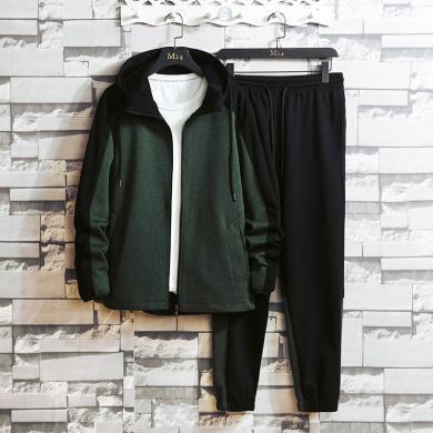 长袖套装男士秋冬两件套一套衣服秋季男士休闲套装韩版潮流2019新款外套男潮牌帅气搭配运动两件套AP-9392