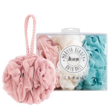 美麗雅三色搓澡巾洗澡巾沐浴球 3只裝(盒裝)