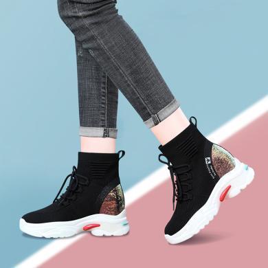 古奇天倫網紅襪子女鞋彈力飛織襪靴內增高秋冬高幫厚底休閑運動鞋短靴9640