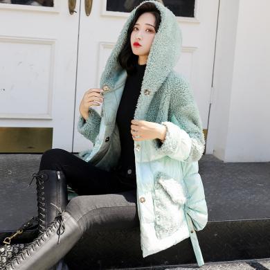 熤笙靘 女式棉衣2019冬季羊羔毛外套小個子棉衣寬松羽絨棉服棉襖      J9A53