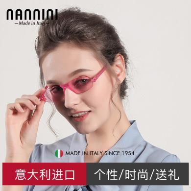 【支持購物卡】意大利NANNINI納尼尼眼鏡 小框眼鏡防紫外線男女時尚墨鏡      S-K