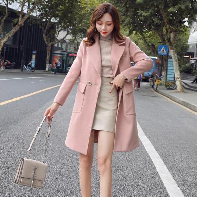 熤笙靘 女式毛呢外套秋冬季新品时尚大口袋中长款呢大衣    CY9976