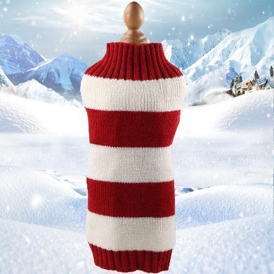 小中大狗狗衣服圣誕節衣服寵物衣服貓咪衣服搞怪秋冬裝   不帶圖案毛線衣粗紅白條紋