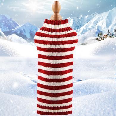 小中大狗狗衣服圣誕節衣服寵物衣服貓咪衣服搞怪秋冬裝    不帶圖案毛線衣細紅白條紋