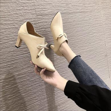 2019秋冬新款女鞋時尚英倫風單鞋女中跟深口尖頭系帶短靴XLJ-9442