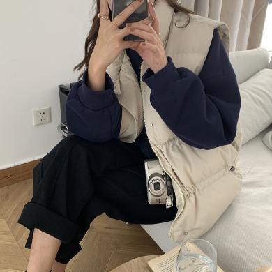 修允菲抽繩立領棉服馬甲背心女2019冬季韓版面包服棉衣外套女HZR1525