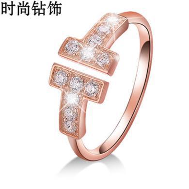 新款 18k白金玫瑰金雙排鉆碎鉆戒指經典款鉆石鉆戒  訂婚 結婚戒指 配證書 【K白/K紅-13#】