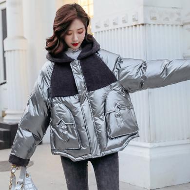 熤笙靘 小个子连帽棉衣女冬季新款韩版宽松保暖颗粒绒拼接棉服外套    Q8871