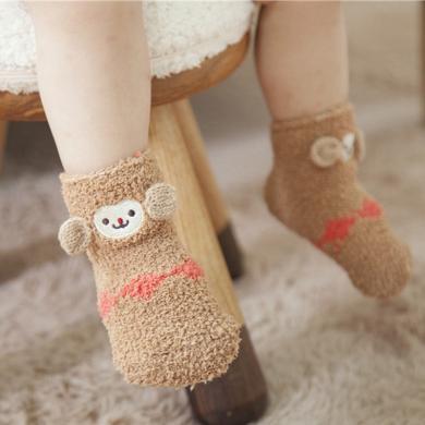 ocsco 珊瑚绒卡通袜子足底硅胶防滑袜立体刺绣儿童袜礼盒装袜子地板袜